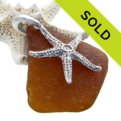 Sorry this brown sea glass pendant with silver starfish has been sold!