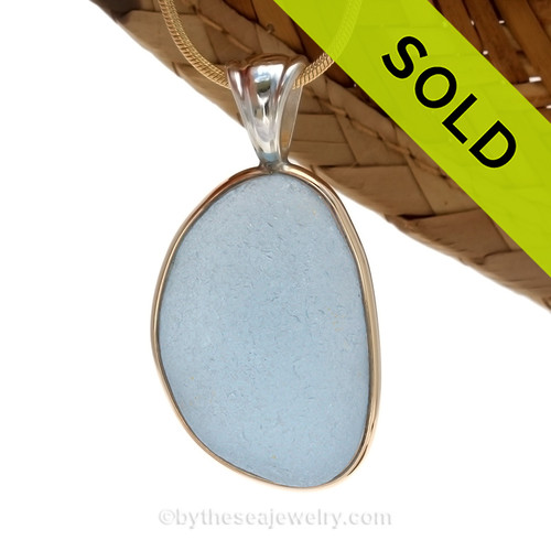 This is a beautiful LARGE P-E-R-F-E-C-T Carolina Blue Sea Glass set in our Mixed Deluxe Tiffany Wire Bezel© pendant setting
