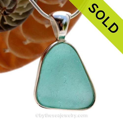 A wonderful PERFECT and THICK piece of Vivid Aqua Genuine Sea Glass in our In Our Deluxe Sterling Wire Bezel© Necklace Pendant. SOLD - Sorry this Rare Sea Glass Pendant is NO LONGER AVAILABLE!!!!