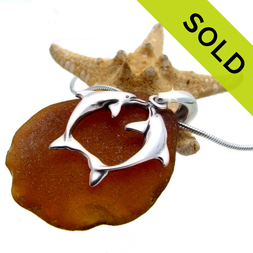 Sea Charmed -Amber Sea Glass On Sterling Bail W/ Dolphins
