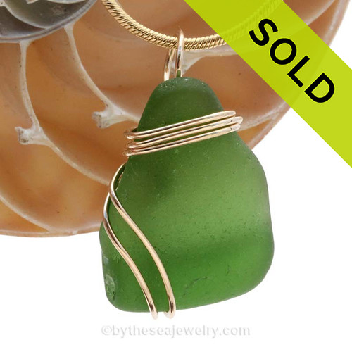 Vivid green sea glass in a larger necklace pendant. SOLD - Sorry this Sea Glass Pendant is NO LONGER AVAILABLE!