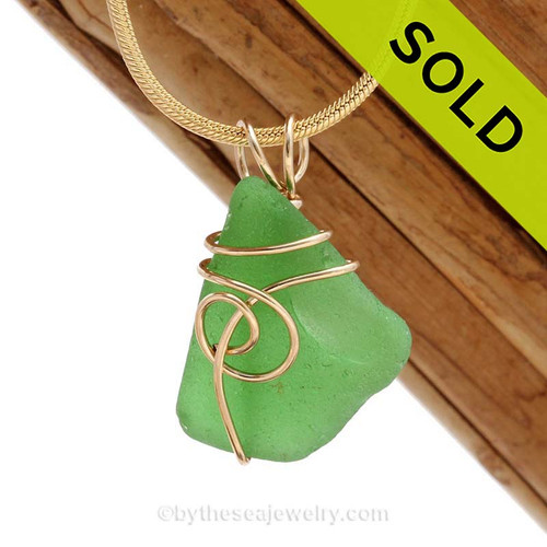 A nice smaller bright green genuine sea glass piece set in our simpleSea Swirl  14K rolled gold setting. SOLD - Sorry this Sea Glass Pendant is NO LONGER AVAILABLE