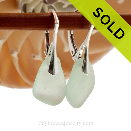 Natural Thicker Pale  Sea Green beach found sea glass pieces set on Solid Sterling Silver Leverback Earrings.