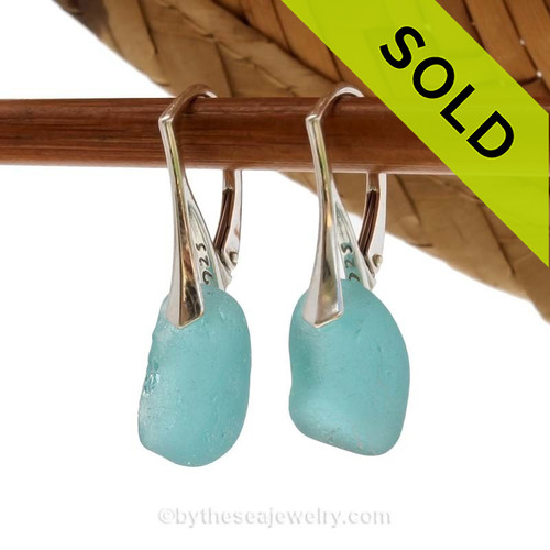 Genuine Beach Found Sea Glass Earrings. This is the EXACT pair you will receive! SOLD - Sorry these Rare Sea Glass Earrings are NO LONGER AVAILABLE!