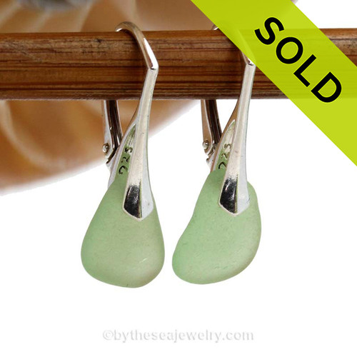 Yellowy Seafoam Green beach found sea glass pieces set on Solid Sterling Silver Leverback Earrings.