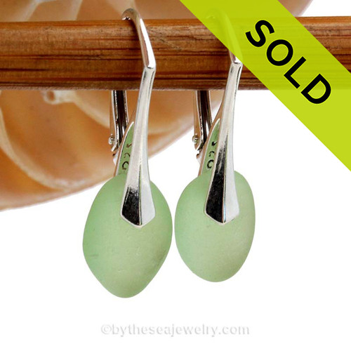 Perfect Thick Petite Yellowy Seafoam Green beach found sea glass pieces set on Solid Sterling Silver Leverback Earrings.