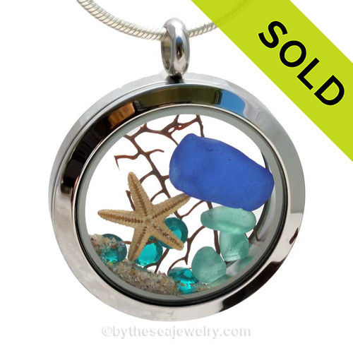 A BEAUTIFUL Natural Cobalt Blue beach found Sea Glass Locket Necklace with a real starfish and Vivid Aqua or Zircon Crystal Gems. SOLD - Sorry this Sea Glass Locket is NO LONGER AVAILABLE!