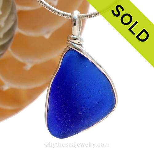 An interesting piece of Large Cobalt Blue Genuine Sea Glass with in our signature Original Wire Bezel© pendant setting in Sterling Silver. SOLD - Sorry this Rare Sea Glass Pendant is NO LONGER AVAILABLE!