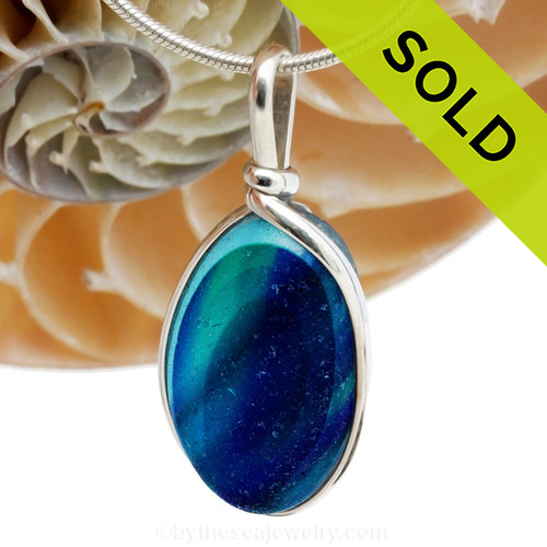 This is a LARGE Striped Aqua and Blue Ultra Rare Mixed English Multi sea glass set for a necklace in our Original Sea Glass Bezel© in solid sterling silver setting. SOLD - Sorry this Ultra Rare Sea Glass Pendant is NO LONGER AVAILABLE!
