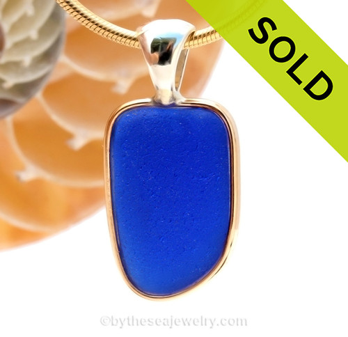 A PERFECT piece of cobalt blue sea glass set in a mixed metal gold and sterling silver necklace. SOLD - Sorry this Rare Sea Glass Pendant is NO LONGER AVAILABLE!