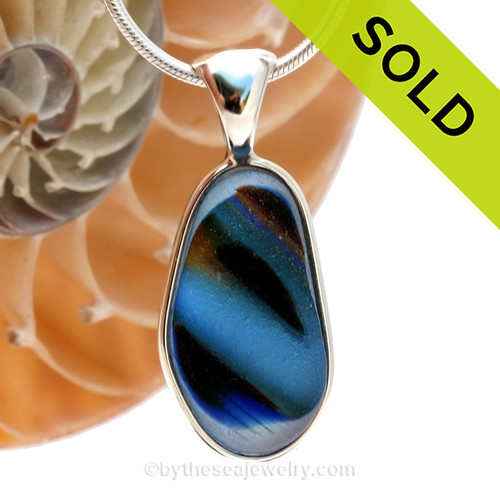 This is a LARGE SUPER ULTRA RARE 5+ color Mixed English Multi sea glass set for a necklace in our Deluxe Sea Glass Bezel© in solid sterling silver setting. SOLD - Sorry this Ultra Rare Sea Glass Pendant is NO LONGER AVAILABLE!