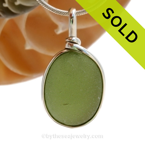 Round Perfect Peridot Green Sea Glass In Original Silver Wire Bezel© Pendant - August Birthston