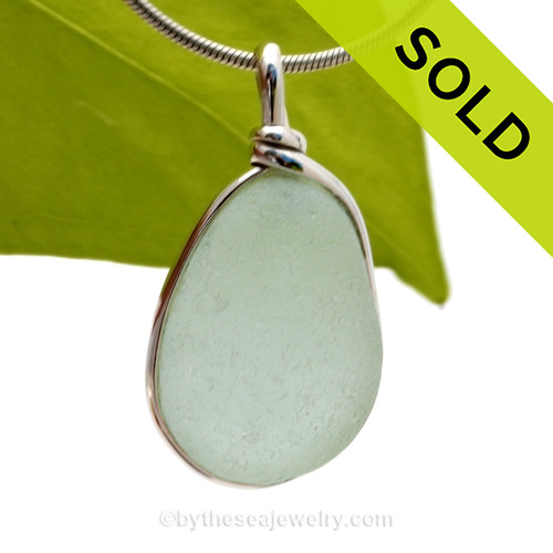 This is a beautiful Palest Aqua Blue Sea Glass set in our Original Wire Bezel© pendant setting in Sterling Silver. SOLD - Sorry this Rare Sea Glass Pendant is NO LONGER AVAILABLE!