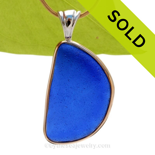 B-E-A-U-T-I-F-U-L HUGE Embossed Bright Cobalt Blue Sea Glass In Tiffany Deluxe Mixed Metal Wire Bezel© Necklace Pendant