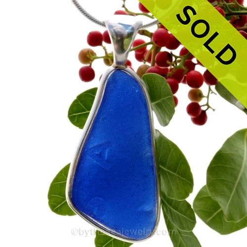 Sea Glass Jewelry for Christmas - Blue Deluxe Bezel Pendant in Silver. SOLD - Sorry this Rare Sea Glass Pendant is NO LONGER AVAILABLE!