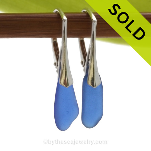 Longer Petite Genuine Cobalt Blue  Beach Found Sea Glass Earrings on Sterling Leverback Earrings. SOLD - Sorry these Rare Sea Glass Earrings are NO LONGER AVAILABLE!