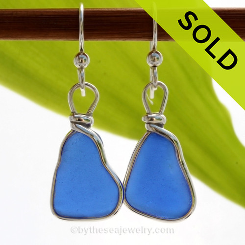 Genuine Bright Blue Sea Glass Earrings in our Original Wire Bezel© Sterling Silver setting. SOLD - Sorry these Sea Glass Earrings are NO LONGER AVAILABLE!