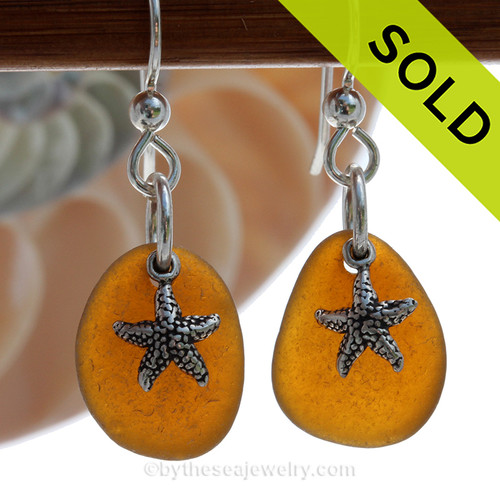 Vivid Amber Brown Sea Glass Earrings On Sterling W/ Starfish Charms. SOLD - Sorry these Sea Glass Earrings are NO LONGER AVAILABLE!