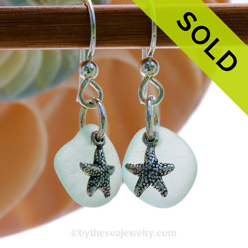 Seafoam Sea Glass Earrings On Sterling W/ Starfish Charms