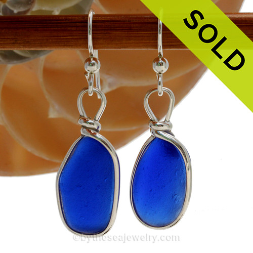 Genuine Deep Blue Sea Glass Earrings in our Original Wire Bezel© Sterling Silver setting.  SOLD - Sorry these Rare Sea Glass Earrings are NO LONGER AVAILABLE!