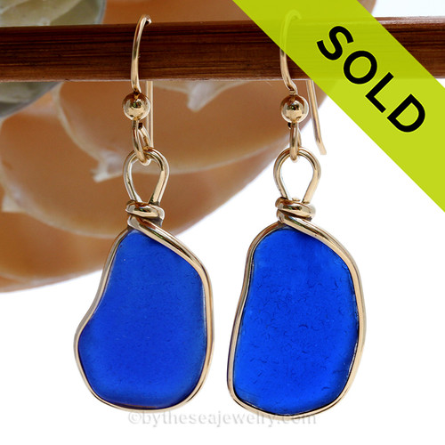 Large Genuine Deep Blue Sea Glass Earrings in our Original Wire Bezel© Sterling Silver setting. SOLD - Sorry these Sea Glass Earrings are NO LONGER AVAILABLE!
