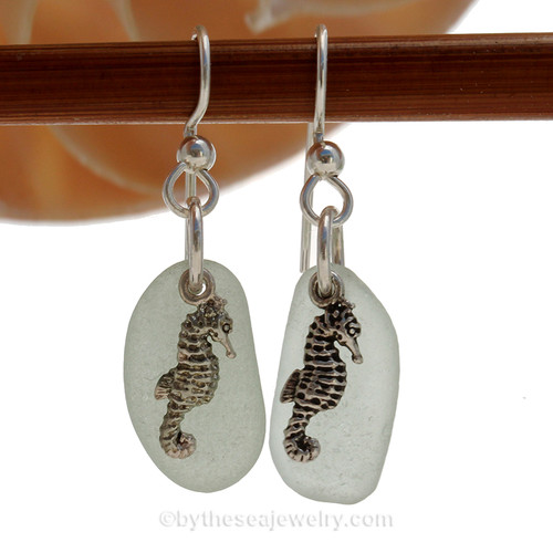 Seafoam Sea Glass Earrings On Sterling W/ Sea Horse Charms