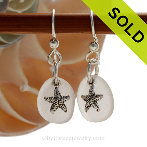 Perfect white sea glass earrings in sterling with sterling starfish charms. SOLD - Sorry these Sea Glass Earrings are NO LONGER AVAILABLE!