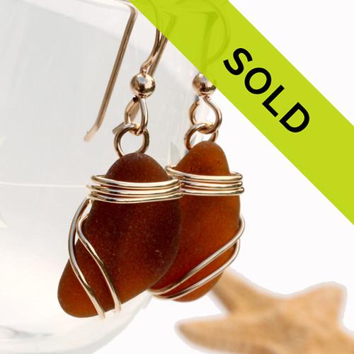 Amber Sea Glass Earrings In 14K Rolled Gold Triple Setting