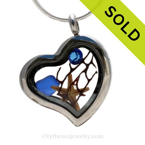 Simply September -  Genuine Cobalt Sea Glass, Starfish & Crystal Gem Stainless Heart Locket