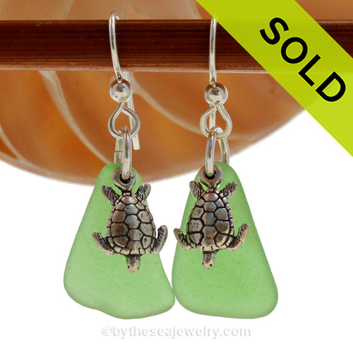 Larger Vivid Green Genuine Sea Glass Earrings in sterling with Solid Sterling Silver Sea Turtle charms.