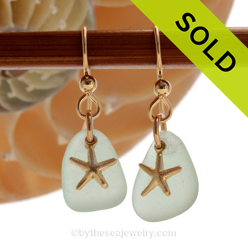 Perfect green Sea Glass Earrings are set with 14K Goldfilled Starfish charms naturally tumble by tide and time. SOLD - Sorry these Sea Glass Earrings are NO LONGER AVAILABLE!