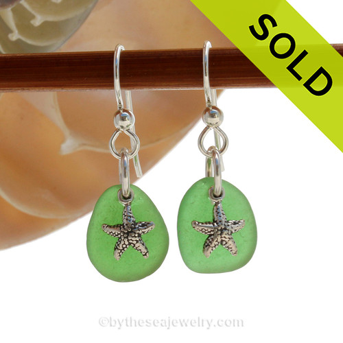 PERFECT Vivid Green Beach Found Genuine Sea Glass Earrings on sterling with Solid Sterling Silver Starfish Charms. SOLD - Sorry these Sea Glass Earrings are NO LONGER AVAILABLE!