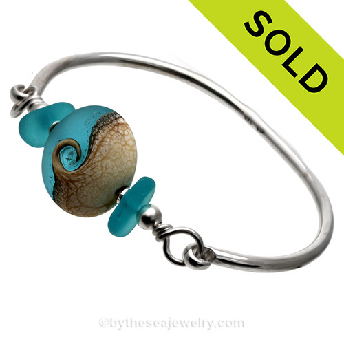 Electric Aqua Blue Genuine Sea Glass Sterling Premium Bangle Bracelet With Lampwork Glass Wave Bead