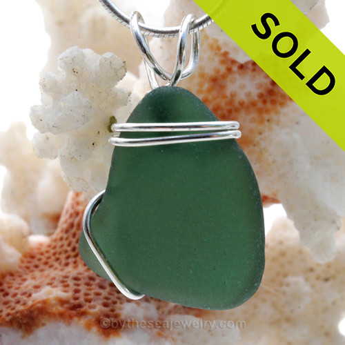 A nice piece of genuine perfect  sea glass in rich Aqua Green  Sea Glass Pendant in a simple secure  wire wrapped sterling setting. SOLD - Sorry this Sea Glass Pendant is NO LONGER AVAILABLE!