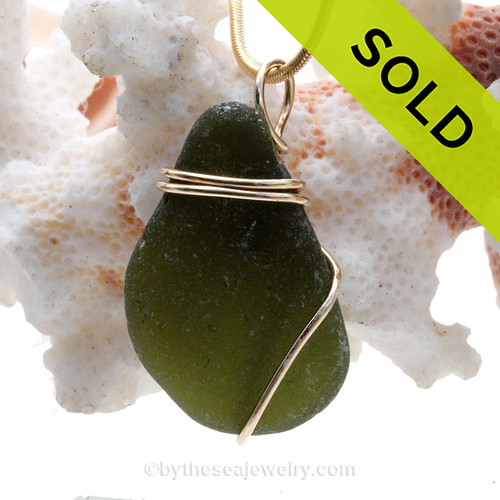 Deep Seaweed Green Sea Glass Pendant In 14K Goldfilled Basic Beach Setting (GFP20021).  SOLD - Sorry this Sea Glass Pendant is NO LONGER AVAILABLE!