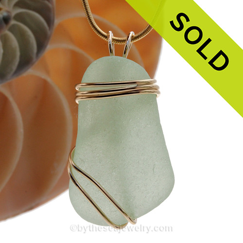 Perfect piece of lovely seafoam green sea glass in our triple rolled gold setting. SOLD - Sorry this Rare Sea Glass Pendant is NO LONGER AVAILABLE!