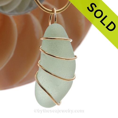 Jellybean shaped Seafoam Green Sea Glass in a Spiral 14K Rolled Gold Pendant setting. SOLD - Sorry this Sea Glass Pendant is NO LONGER AVAILABLE!