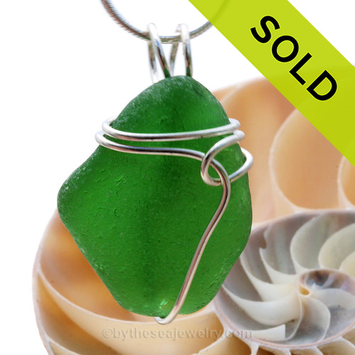 Vivid bright green well aged Genuine Sea Glass Pendant in a vivid green set in Solid Sterling Silver. SOLD - Sorry this Sea Glass Pendant is NO LONGER AVAILABLE!