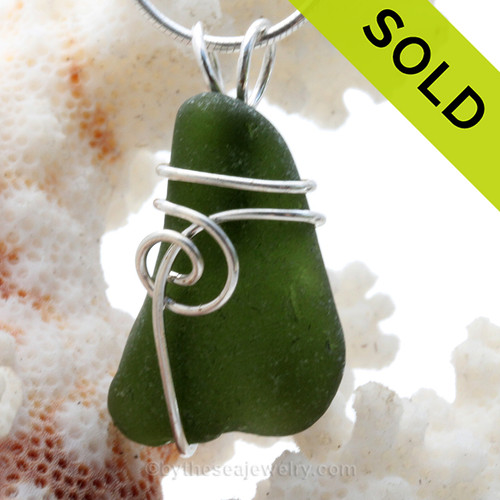Rich Deep green well aged Genuine Sea Glass Pendant set in Solid Sterling Silver Swirl Wrap. SOLD - Sorry this Sea Glass Pendant is NO LONGER AVAILABLE!