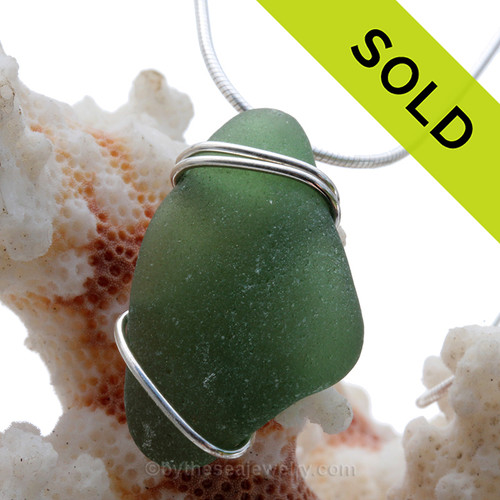 Rich Deep green well aged Genuine Sea Glass Pendant set in Solid Sterling Silver Basic Beach Wrap. SOLD - Sorry this Sea Glass Pendant is NO LONGER AVAILABLE!