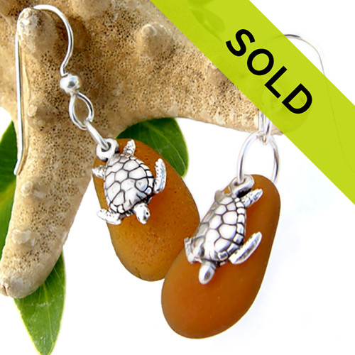 Perfect amber brown sea glass pieces set with solid sterling sea turtle charms on a medium size earring.