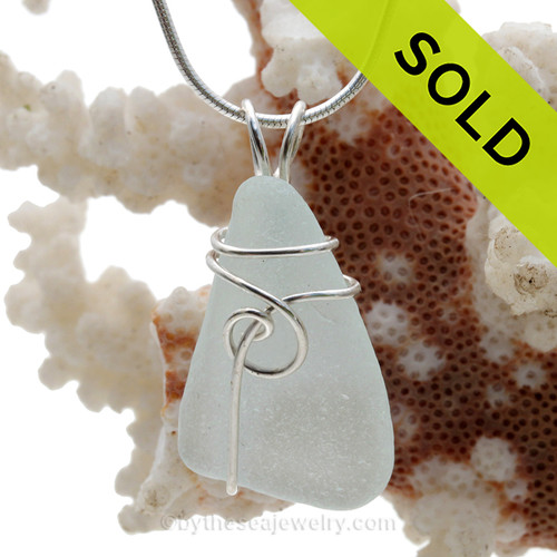 A perfect piece of genuine Sea Glass Pendant in bright white and Our simple secure wire wrapped Sea Swirl sterling setting. Simple and affordable! SOLD - Sorry this Sea Glass Pendant is NO LONGER AVAILABLE!