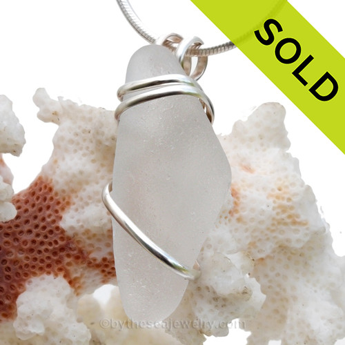 Pure White Sea Glass In Sterling Silver Deluxe Wire Necklace Pendant