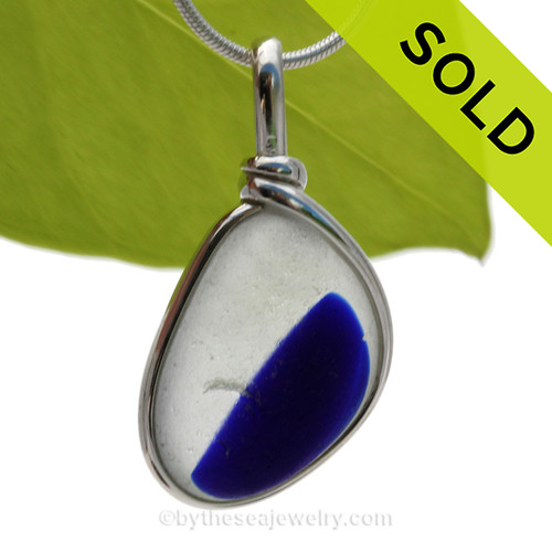 Petite Indigo Blue Multi Seaham Sea Glass In Sterling Silver Original Wire Bezel©