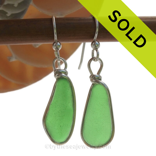 Long and lovely vivid green beach found Sea Glass Earrings set in our signature Original Wire Bezel© setting in silver.