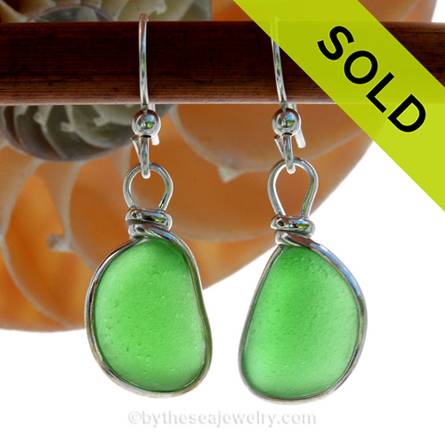 Long and lovely vivid green beach found Sea Glass Earrings set in our signature Original Wire Bezel© setting in silver. SOLD - Sorry these Sea Glass Earrings are NO LONGER AVAILABLE!