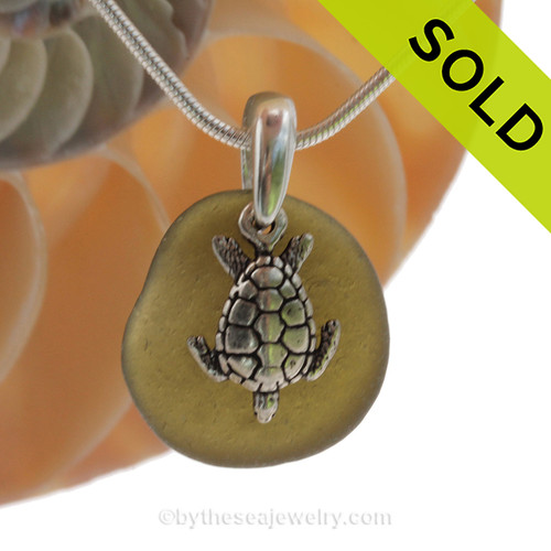 Simple jungle green Sea Glass Necklace with Beach found green sea glass and solid sterling silver sea turtle charm and Solid Sterling Silver Snake chain. SOLD - Sorry this Sea Glass Necklace is NO LONGER AVAILABLE!