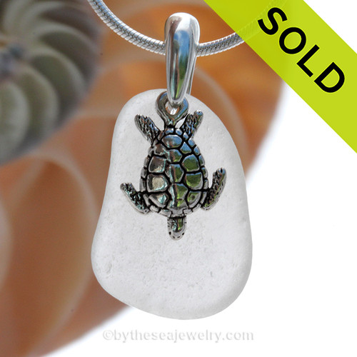 Pure Bright White Sea Glass Necklace with Beach found sea glass and solid sterling silver sea turtle charm and Solid Sterling Silver Snake chain.