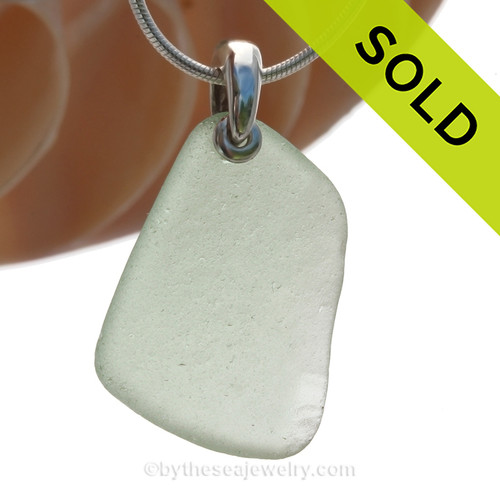 Large seafoam green Sea Glass Necklace with Beach found sea glass and solid sterling details and Solid Sterling Silver Snake chain. SOLD - Sorry this Sea Glass Necklace is NO LONGER AVAILABLE!