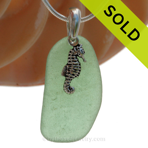 """Green Sea Glass Necklace with Sterling Silver Seahorse - 18"""" Solid Sterling Chain INCLUDED"""
